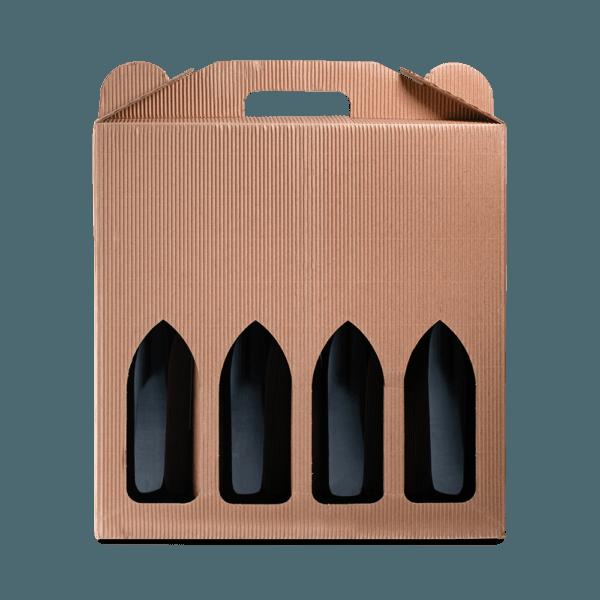 4 stk. Gaveæske til vin i brun bølgekarton