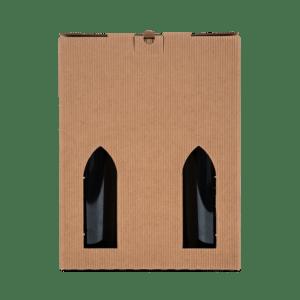 6 stk. Gaveæske til vin i brun bølgekarton